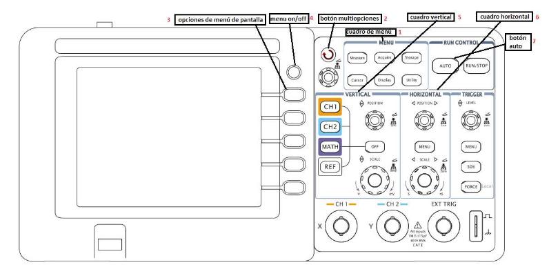Controles Principales de el Osciloscopio Digital Rigol-DS1052E