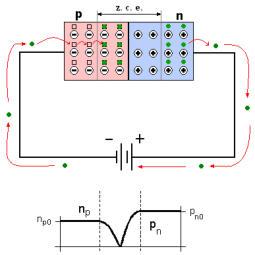 Esquema de la polarización inversa del diodo