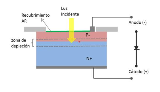Esquema de funcionamiento del foto-diodo