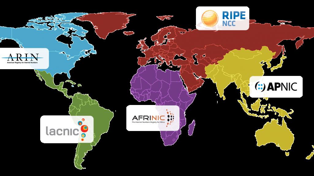 Mapa mundial con proveedores de asignación de IP iana