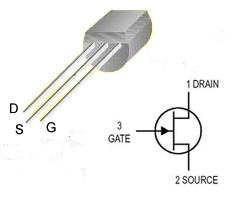 identificación de los pines del transistor JFET MPF102
