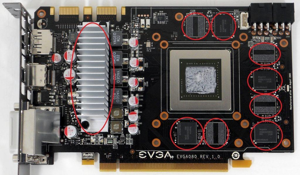 Modulos GRAM montados en una tarjeta gráfica EVGA