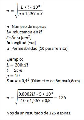 Formula para calcular la bobina de choque