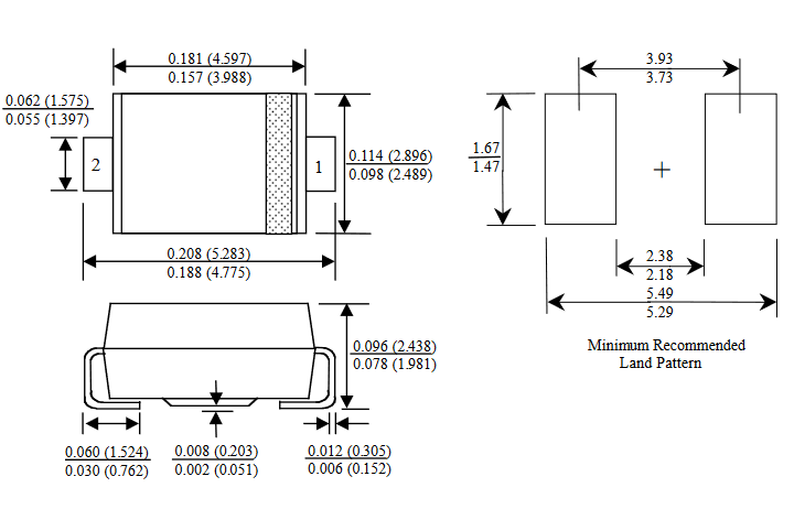 Dimensiones del encapsulado DO-214