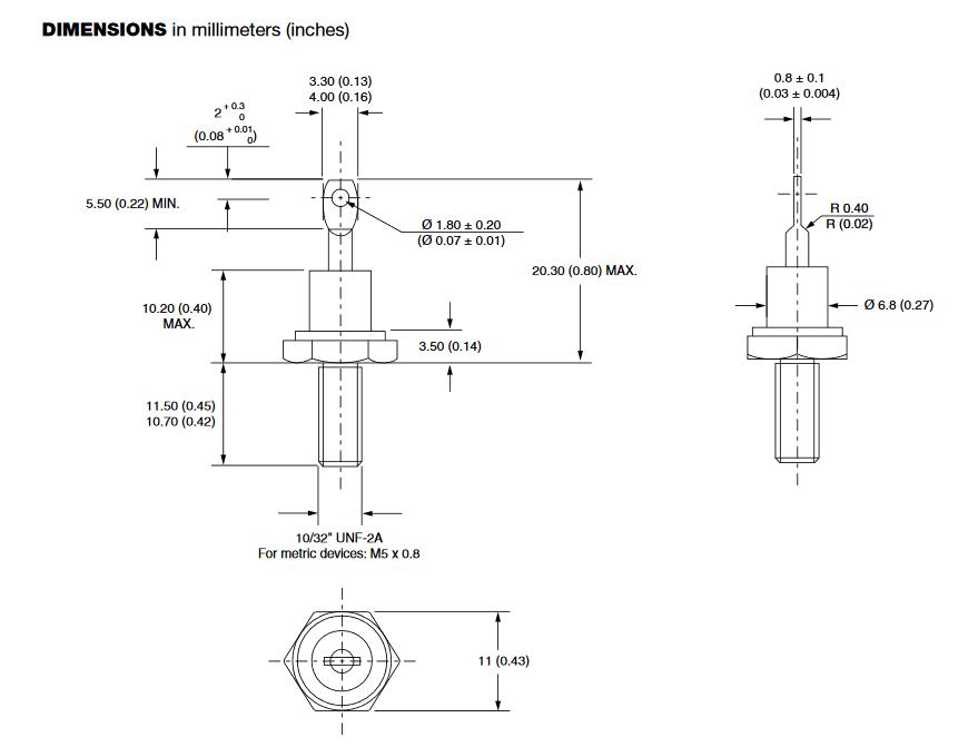 Dimensiones del encapsulado DO-4