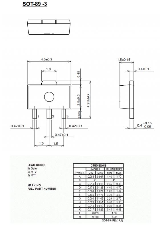 Dimensiones del encapsulado SOT-89