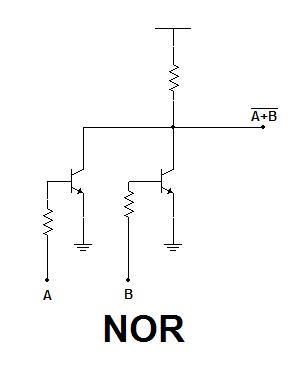 Diseños de una puerta puerta NOR con transistores