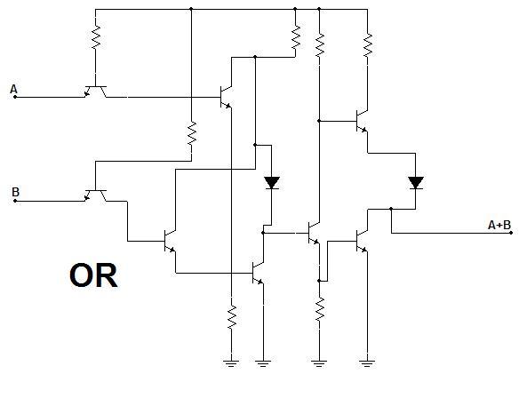 Diseños de una puerta puerta OR con transistores