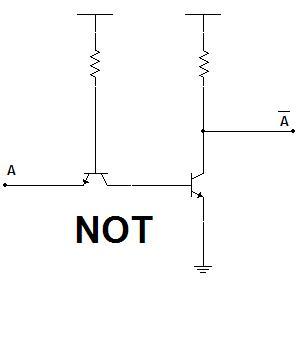 Diseños de una puerta puerta NOT con transistores