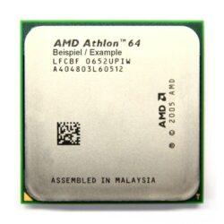 El AMD Athlon 64 es un microprocesador x86 de 8ª generación que implementa el conjunto de instrucciones AMD64, que fueron introducidas con el procesador Opteron. El Athlon 64 presenta un controlador de memoria en el propio circuito integrado del microprocesador y otras mejoras de arquitectura que le dan un mejor rendimiento que los anteriores Athlon y que el Athlon XP funcionando a la misma velocidad, incluso ejecutando código heredado de 32 bits. El Athlon 64 también presenta una tecnología de reducción de la velocidad del procesador llamada Cool'n'Quiet,: cuando el usuario está ejecutando aplicaciones que requieren poco uso del procesador, baja la velocidad del mismo y su tensión se reduce.