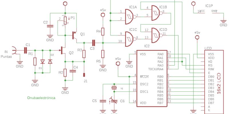 Esquema eléctrico del frecuencímetro digital con lcd